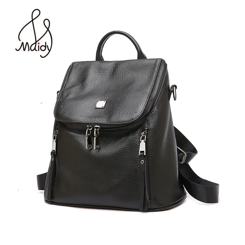 купить Luxury Women Girls Cow Leather Backpack Black Zipper Large Simple Backpacks And Shoulder School Bags Laptop High Quality Maidy по цене 3775.64 рублей