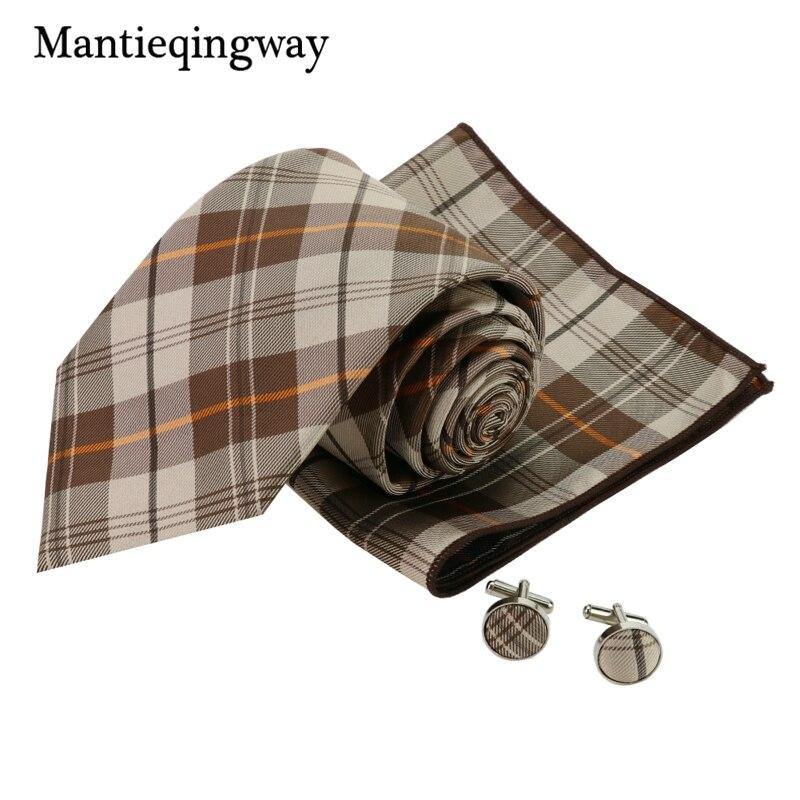 Mantieqingway 2017 Mens Brown Plaid Business Ties Wedding Pocket Square Casual Cufflinks Set Neckwear Suits Gravats Corbatas