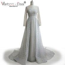 VARBOO_ELSA 2017 Glisten Lyxiga Klänningar Saudiarabisk Silver Långärmad Prom Klänning Sequin Hög Kvalité Custom Party Dress