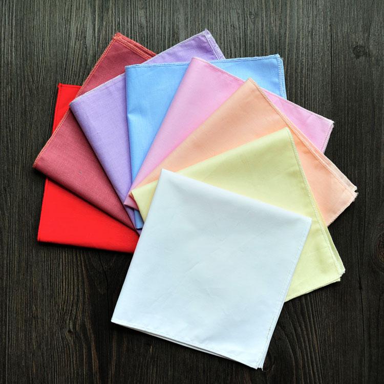 Plain Color Cotton Handkerchief Women Fashion Accessories Small Hand Kerchief DIY Hand Painting Embroidery Programs 30x30 Cm