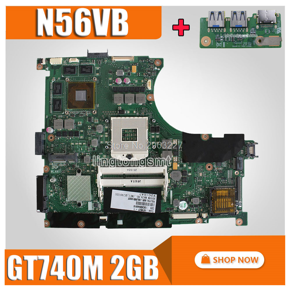 send board+N56VB Motherboard GT740 2G For ASUS N56VM N56VJ N56VZ N56V N56VB Laptop motherboard N56VB Mainboard N56VB Motherboard цена