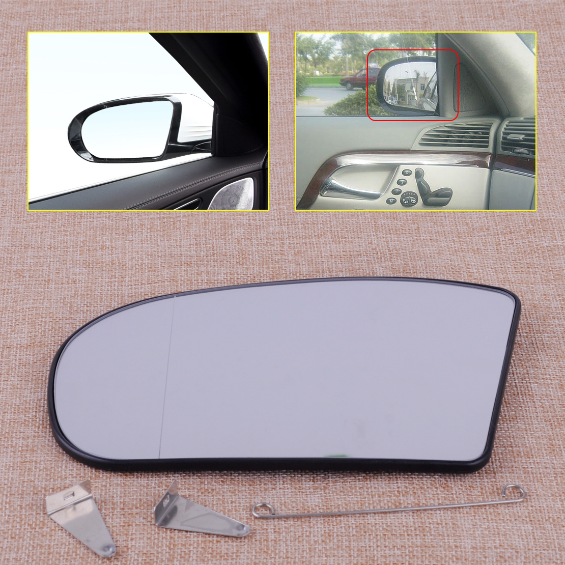 Silver Wide Angle Wing Door Mirror s Including Base Plate RH TO-Corolla 2001 to 2007 Heated Driver Side