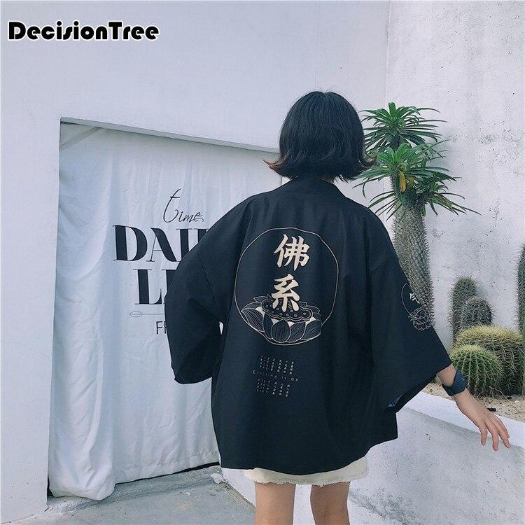 2020 Crane Japanese Style Kimono Haori Men Women Cardigan Chinese Dragon Traditional Japanese Clothing Asian Clothes