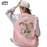 Fitaylor 2018 Spring Bomber Jacket Women Fashion Embroidery Flower Loose Jackets Female O Neck Long Sleeve Short Coat Mujer