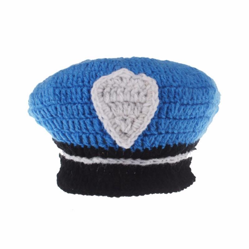 9fff7679747 ... Handmade Hat Sets Newborn Photography Props Police Clothes Cap Pants  Suit Unisex Apparel Knit Baby Bonnet ...
