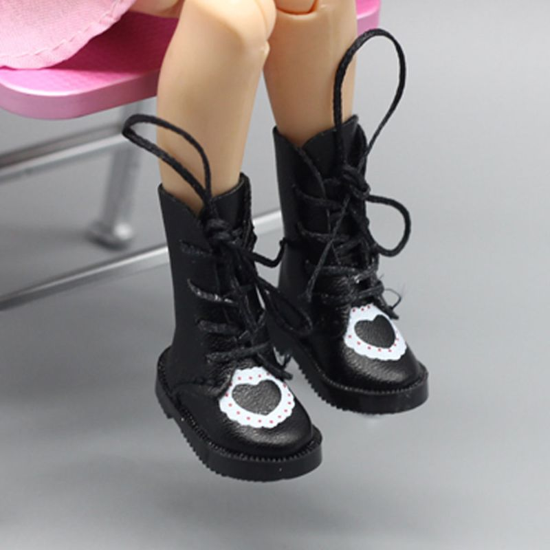 Handmade Exquisite Heart PU Leather Doll Boots For Blythe Doll Shoes 1/6 Doll