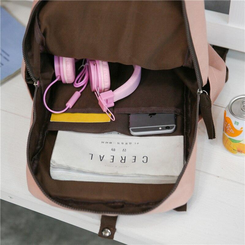Plain Square Canvas Kanken Backpacks Female Japan Style College Women Travel Backpack Bag Top Handle Laptop Rucksack Girls 2019 #3