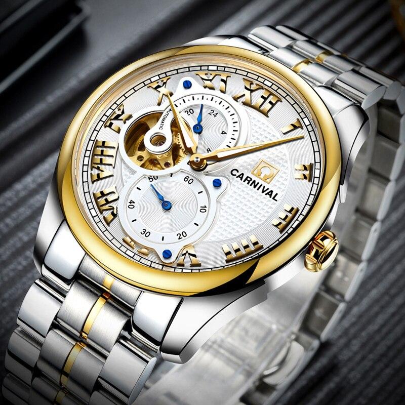 Reloj Automático de Carnaval para hombre, reloj corto, segundero pequeño, Dial Roma, números, reloj mecánico de lujo, hueco - 2
