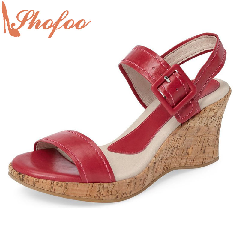 2017 Shofoo Women Wedge Sandals Summer Woman Casual Leather Wedges Shoes Red Balck Green Sandals Zapatos Mujer Tacon Sapato 4-16 phyanic 2017 gladiator sandals gold silver shoes woman summer platform wedges glitters creepers casual women shoes phy3323