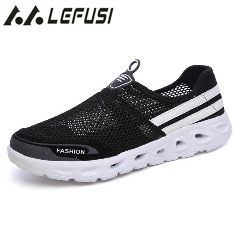 c46143470b19 Men Quick Drying Beach Water Shoes For Male Outdoor Slip On Aqua Shoes  Breathable Lightweight loafer Sandals Plus Size 35 44-in Men s Sandals from  Shoes on ...
