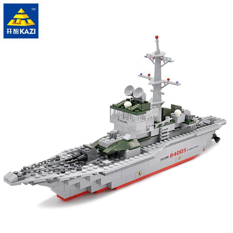 KAZI Cruiser Army Military Frigate Blocks 228pcs/set Bricks Battle War Ship Classic Education Navy Vessel Boat Toy for Children ...