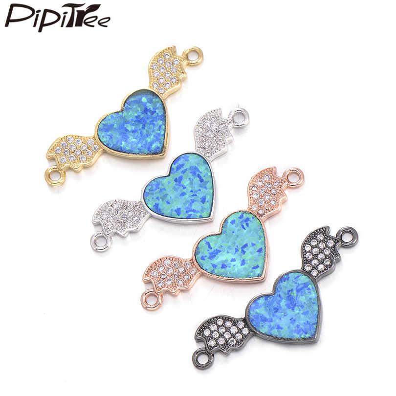 Pipitree רומנטי גדול לב כחול אש אופל מעופף קסם יפה לב & אגף קסמי עבור מאהב תכשיטי ביצוע צמידי זוג DIY