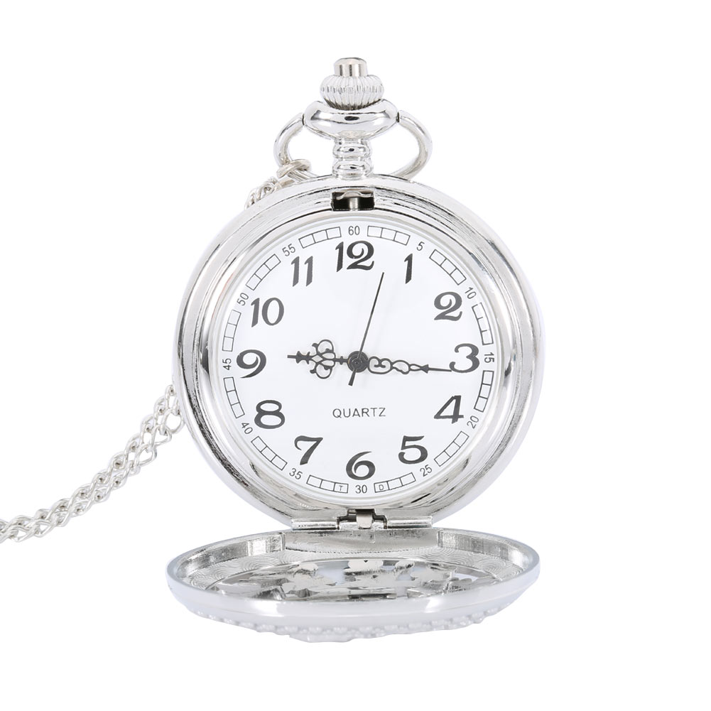 Silver Hollow Mermaid Pattern Pocket Watch Women Pendant Necklace Chain Fob Clock Watches Gifts LL@17