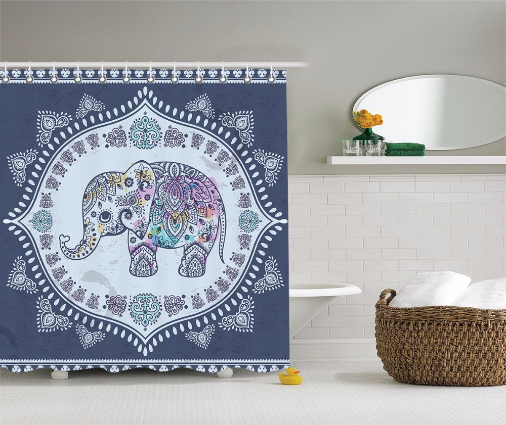 Indian Shower Curtain Bohemian Elephant Figure with Gypsy Embellishments Spiritual Oriental Figures Graphic Fabric Bathroom Deco
