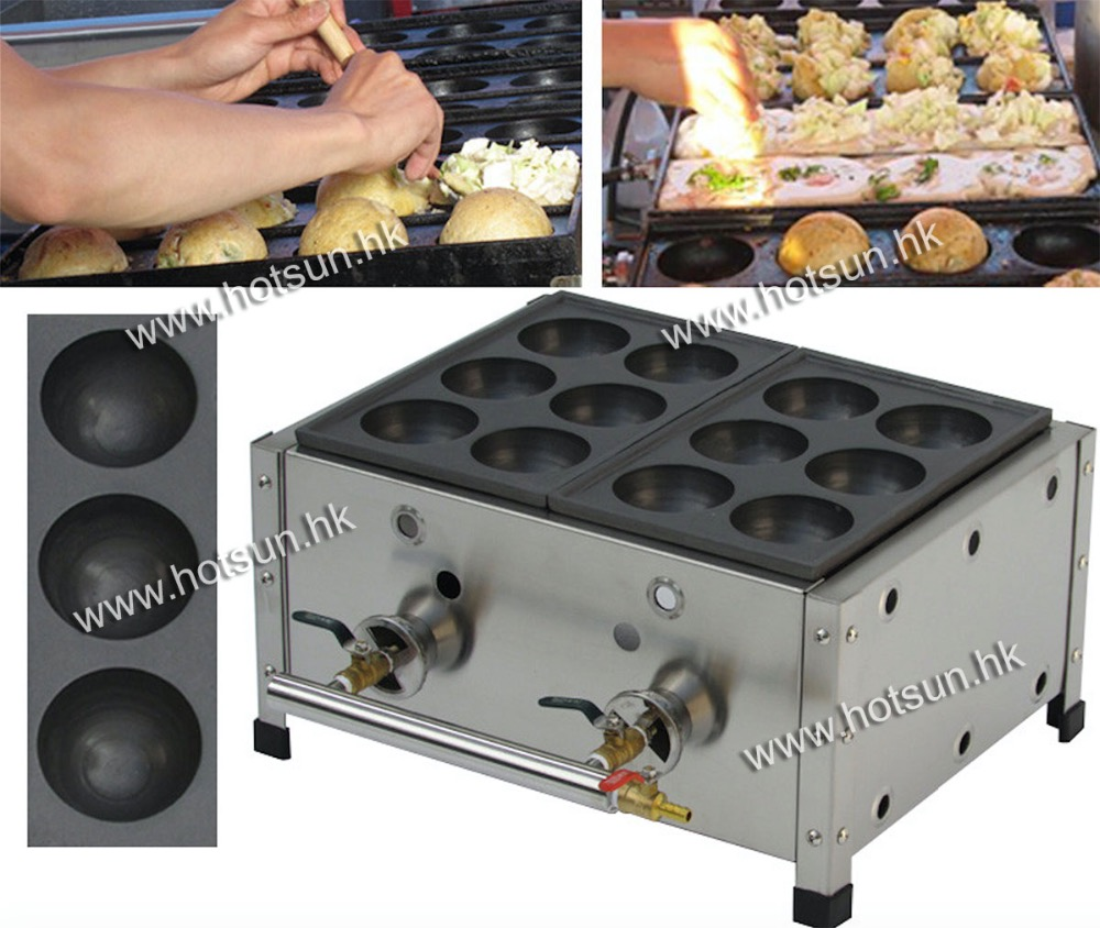 Commercial Use Non-stick LPG Gas 8cm Octopus Ball Bakudanyaki Maker Machine Baker Iron Mold 6pcs commercial use non stick lpg gas korean egg bread gyeranbbang machine iron baker maker