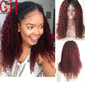 7A U Part Wig Virgin Hair Full Lace Human Hair Wigs Ombre/Glueless Front Lace Wigs Kinky Curly Two Tone#1B/99J Lace Wig Burgundy