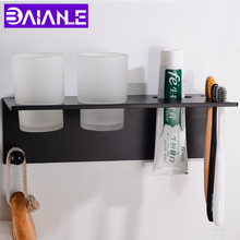 Black Toothbrush Holder Couple Space Aluminum Bathroom Accessories Set Wall Mounted Cup Creative Storage Rack