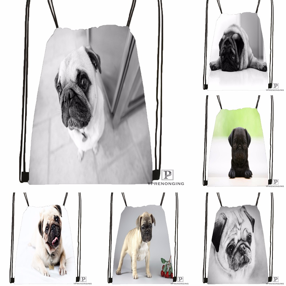 Custom Gray Dog Pug View Drawstring Backpack Bag Cute Daypack Kids Satchel (Black Back) 31x40cm#180531-04-23