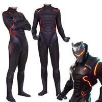 Game Battle Royale Forniter Cosplay Costume Omega Oblivion link Zentai Bodysuit Tights Jumpsuit Suit Led Mask Halloween for Kids
