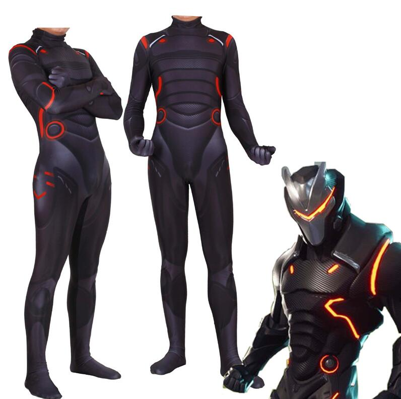Game Battle Royale Forniter Cosplay Costume Omega Oblivion Link Zentai Bodysuit Tights Jumpsuit Suit Led Mask Halloween For Kids