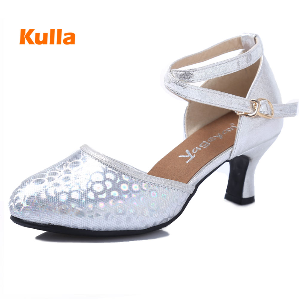 Rubber Outsole Latin/Tango/Salsa Dance Shoes For Women Girls Glitter Party Ballroom Dancing Shoes About 6cm High Heels wholesale