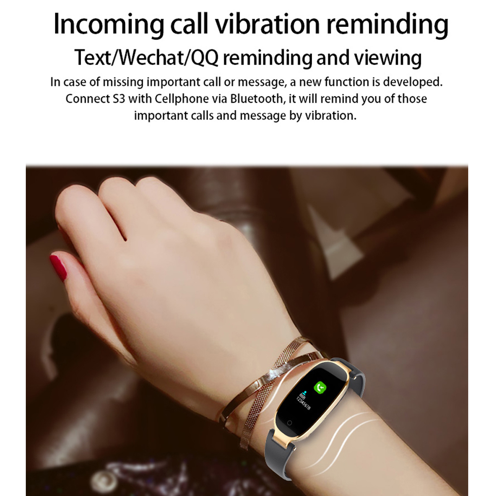 New Smart Bracelet Women Heart Rate Monitor Sport Fitness Tracker Watch Waterproof S3 Bluetooth Band Alarm Clock for Android IOS