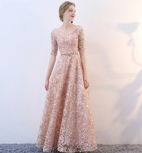 Vestidos New Elegant Long Lace Evening Dresses 2019 Champagne/Burgundy A-line Formal Prom Party Gowns Robe De Soiree