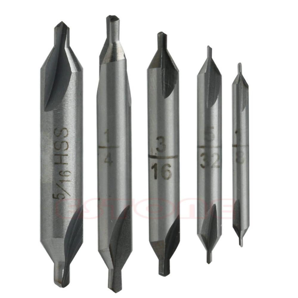 цена на 5Pcs 60 degree HSS Center Spotting Drill Bits Combined Countersink High Speed Tool L15