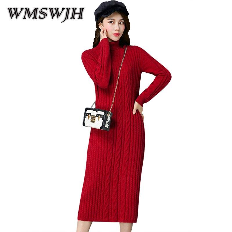 2019 New Fashion Knitted Dress Women Long Sleeve Warm Winter Dress Turtleneck Wool Knitted Sweater Dresses