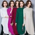 Новые Мусульманские Женщины Этнические Обычаи Лето Dress Длинными Рукавами Хеджирования Радуга Стиль Кнопка Исламская Стенд Шея Женщины Fashion Dress