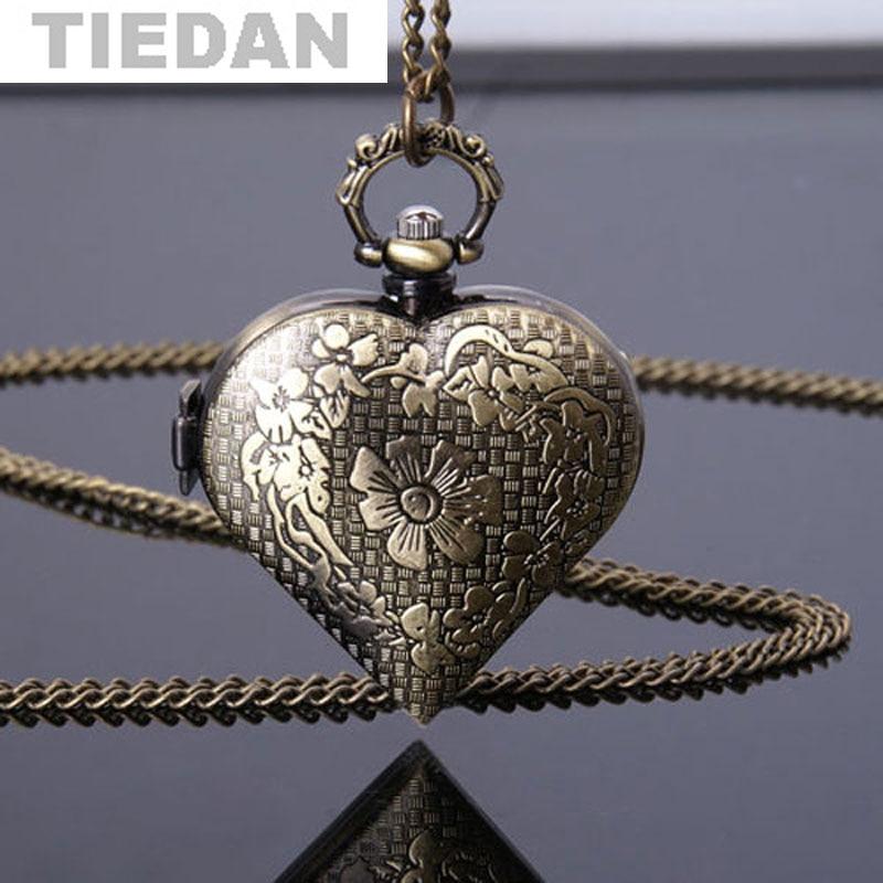 Antieke bronzen holle hart vorm zakhorloge vrouwen horloges mannen - Zakhorloge - Foto 1