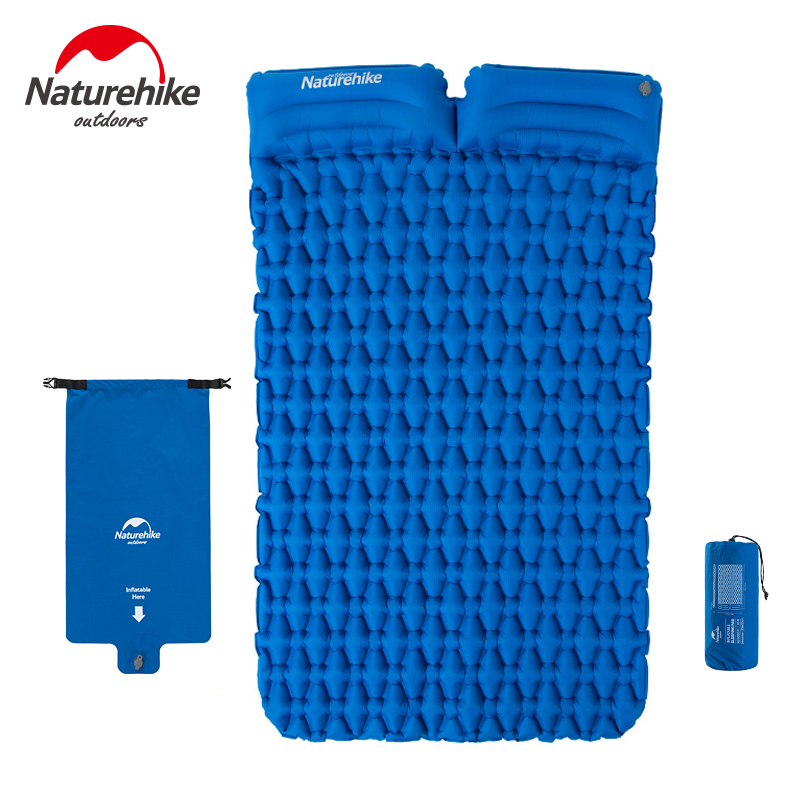 Naturehike 2 Persons Outdoor Camping Inflatable Cushion Moisture proof Sleeping Bag Mattress Mat Pad With Inflatable