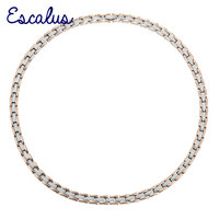 Escalus Women 4in1 Magnetic 2 Tone Rose Gold And Silver Stainless Steel Necklace For Health And Promote Blood Circulation