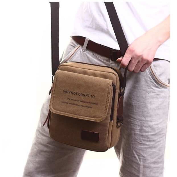 Vintage men canvas messenger bags men shoulder bag Crossbody bags black man  little brown bag designer handbags 9e927bc04f318