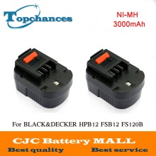 2pcs High quality 12V 3000mAh NI-MH Replacement Power Tool Battery For Black&Decker A12, A12-XJ, A12EX, FS120B, FSB12, HPB12