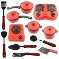 12 Unids Niños Casa De Juguete de la Cocina de Cocina Utensilios de cocina de Niños Pretend & Play Kitchen Playset-Rojo + Negro