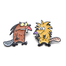 DMLSKY The Angry Beaver Pins Animals Enamel and Brooches Lapel Pin Backpack Bags Badge Clothing Decoration Gifts M3488