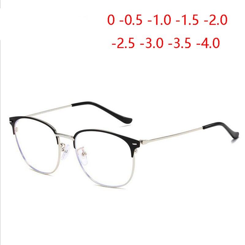 Classical Metal Round Frames Nearsighted Glasses For Men Women 1.56 Aspherical Lens Prescription Eyeglasses -0.5 -1.0  To -4.0