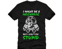 New T Shirts Funny Tops Tee Unisex Topsi might be a mechanic but cant fix stupid skull piston dtg mens t shirt tees
