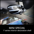 Color Unfade For Mini Cooper F55 F56 Interior Rearview Mirror Cover Shell Union Jack Checker Stickers accessories