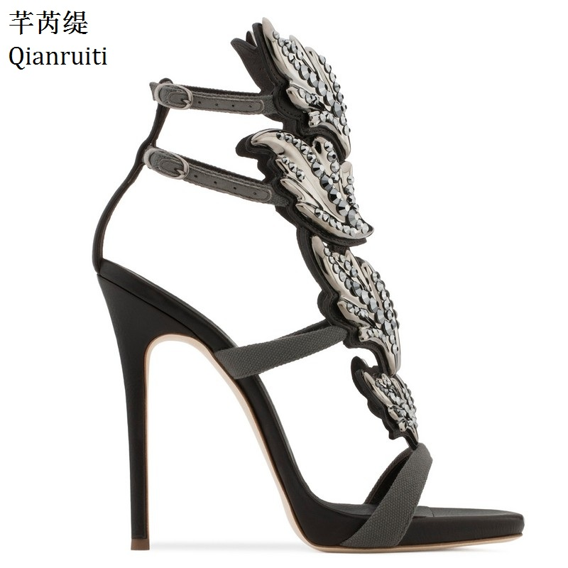 Qianruiti Silver Gold Studded Crystal High Heels Sandals Ankle Buckle Strap  Women Pumps Rome Style Thin Heels Women Shoes 038f24ea0534