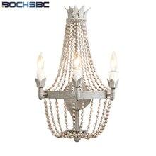 Luz de pared de cristal francés BOCHSBC, cuentas de madera de estilo Retro, lámpara de luz de arte para cocina, comedor, dormitorio, pasillo, escalera