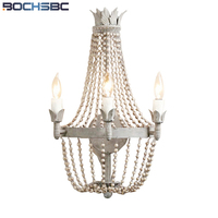 BOCHSBC French Crystal Wall Light Retro Style Wooden Beads Art Lamp Light Apply To Kitchen Dining Room Bed Room Aisle Staircase