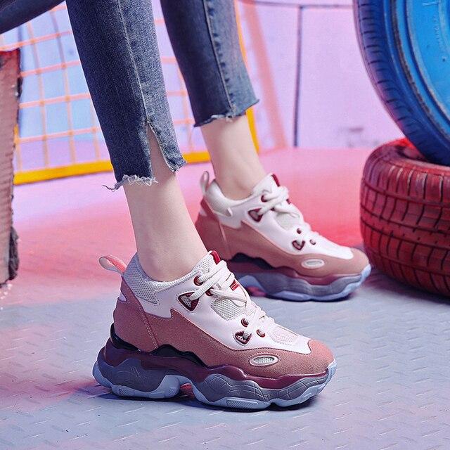 여성 캐주얼 신발 통기성 chunky 스 니 커 즈 9 cm hight 증가 플랫폼 스 니 커 즈 캐주얼 엘리베이터 신발 플랫 숙 녀 트레이너