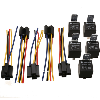 цена на 5 Set 12V 40A 5 Pin 5 Pin Automotive Relay with Relay Socket Car Auto Relay Socket 5 Wire