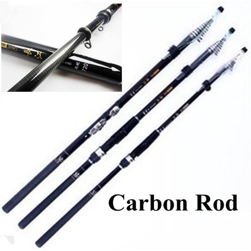 BlueSardine Quality Telescopic Fishing Rods Carbon Spinning Fishing Tackle Pesca 7.2M 6.3M 5.4M 4.5M