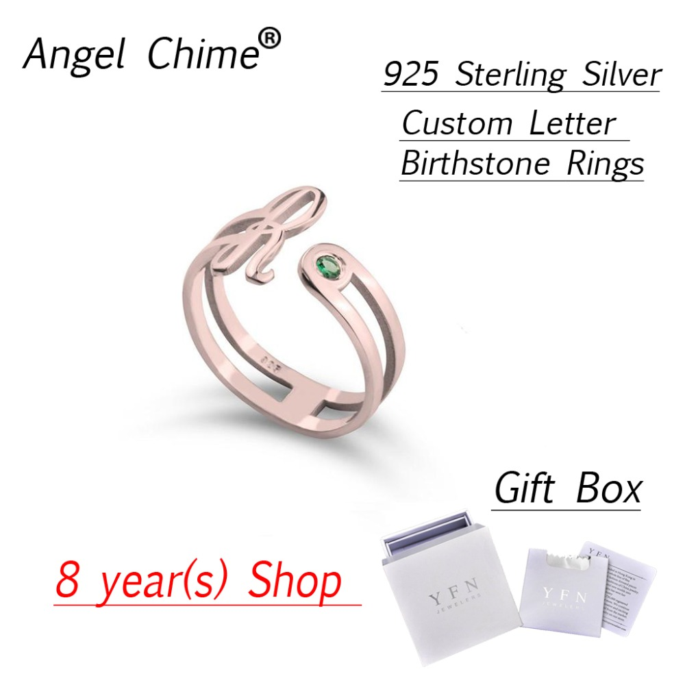 Custom Birthstone Rings Angle Chime Brand Personalized Initial Letter Ring Real 925 Sterling Silver
