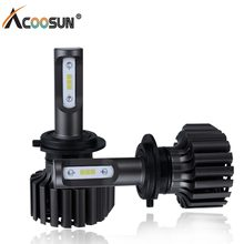 AcooSun 12V Car LED Headlight Bulb All in One H7 H11 H1 880 H3 9005 9006 9012 5202 72W 8000LM H4 H13 9007 High Low Beam Lights(China)