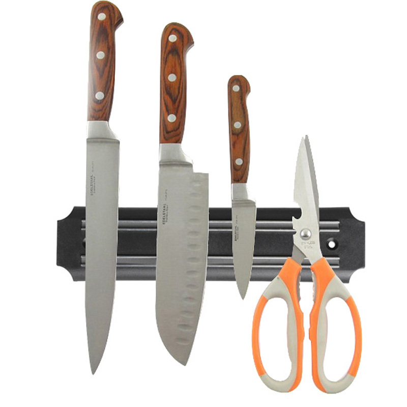 Strong Magnetic Knife Holder Tool Rest Shelf For Kitchen Pub Bar Counter Black Knife Holder Kitchen Knives Accessories