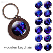 цена на 12 Constellation Wooden Keychain, The Signs of The Zodiac Keyring, Blue Glass Pendant, Birthday Gift for Friends and Loved Gifts